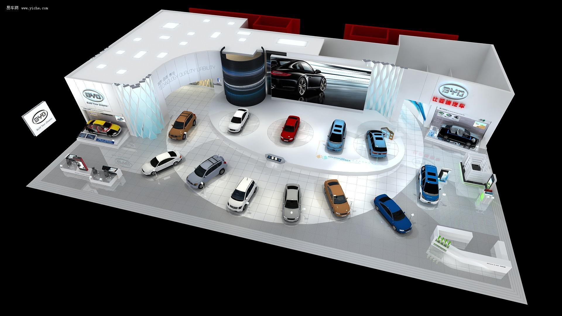比亚迪展台效果图 比亚迪北京车展阵容公布 f3速锐有看头高清图片