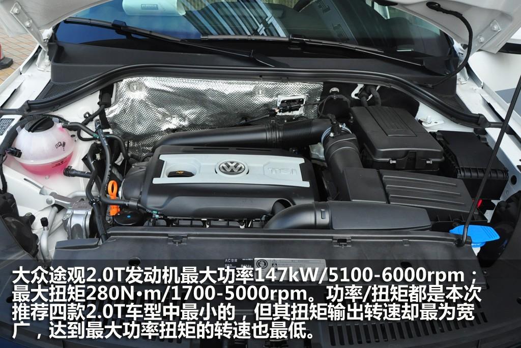 途观采用2.0T发动机的有两款车型,价格分别是28.68/30.98万元。和采用1.8T发动机同配置车型相比贵1.5万元。如果比较入门车型价格,1.8T车型最低价21.18万元,与2.0T车型差别还是比较大的。   因为途观1.8T车型版本较多,本身配置就比较丰富,所以2.0T车型上的特色配置相对就显得较少。旗舰版车型多的功能主要是自动防眩目后视镜和Alcantara真皮座椅。除此之外2.
