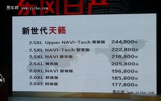 东风日产新天籁上市 售17.78万-24.48万元