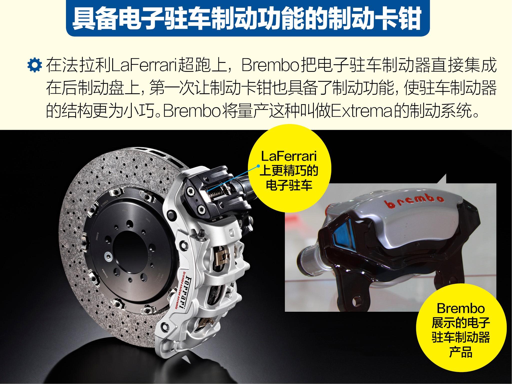 制动卡钳以及后轮电子驻车制动器,而制动盘则是brembo为法高清图片