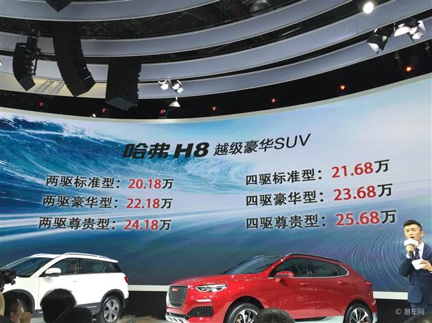 哈弗H8正式上市 售价20.18万-25.68万元