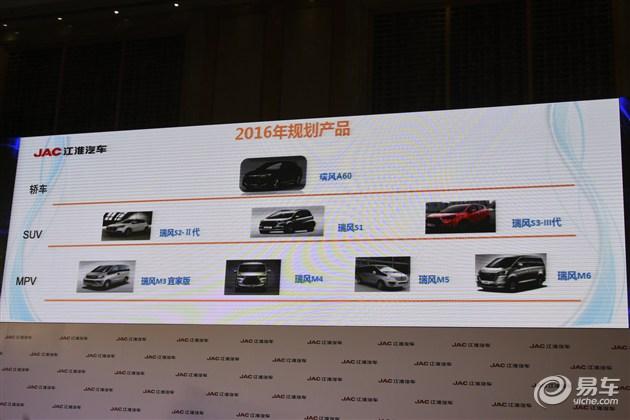 江淮2016年新车规划发布 将推出8款乘用车