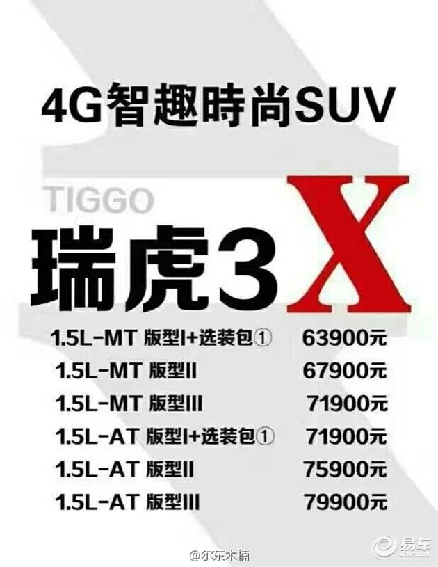 瑞虎3X疑似价格曝光 售6.39万-7.99万元