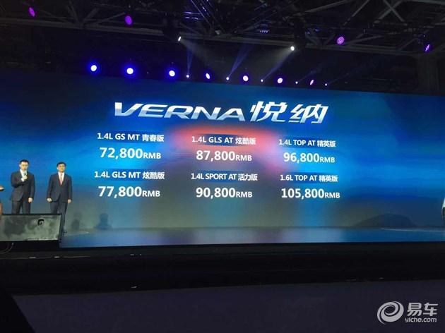 北京现代悦纳上市 售7.28万-10.58万元