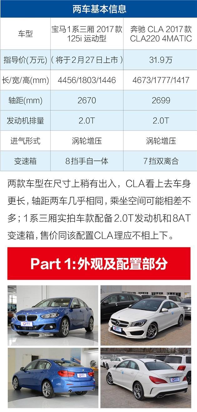 宝马1系三厢对比奔驰CLA 选台精品三厢车