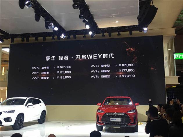 WEY品牌首款车型VV7上市 售价16.78-18.88万元