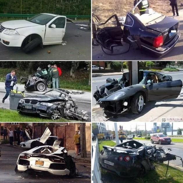 各种车身断裂事故,不乏高端跑车