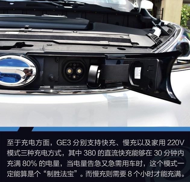 """总结:GE3快充的速度是它的一个优势,而续航里程方面经过我们测试其300公里的实际表现也值得一提,但价格也同样是代步小车里比较高的了,但我们能看出它是定位于""""精品小型电动SUV""""这一范畴的,包括内外设计也很用心,但行驶感的提升是GE3也是其他电动小车都需要努力的方向之一。"""