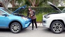丰田RAV4混动版 备用电池充电方法演示