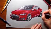 特斯拉Model S快速手绘 色彩鲜明逼真