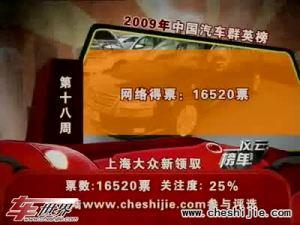 2009年中国汽车风云榜 第18周榜单