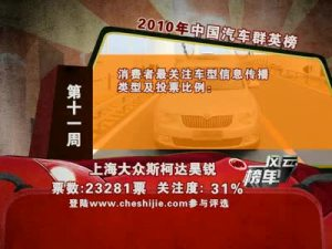 2010年中国汽车风云榜 第11周榜单