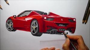 法拉利458 Spider 彩色铅笔快速成画