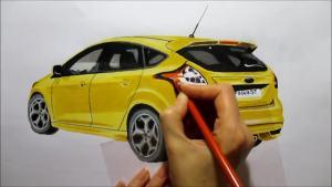 新款福特福克斯ST快速手绘 简单易学