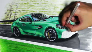 手绘奔驰AMG GT R 源于赛车设计灵感