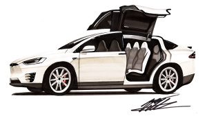 快速手绘特斯拉Model X 还原纯电动SUV