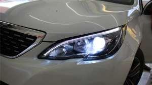 成都新标致308改车灯 实拍改装升级海拉透镜效果