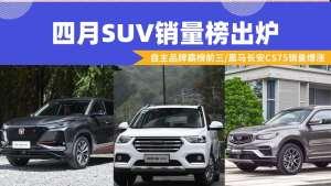 四月SUV销量榜出炉:自主品牌霸榜前三,黑马长安CS75销量爆涨