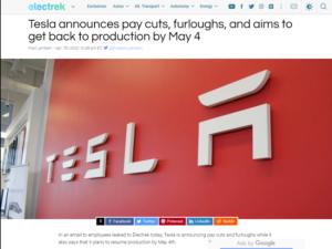 特斯拉宣布降薪和休假 计划在5月4日前恢复在美工厂生产